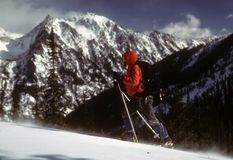 Skier in snowstorm. On mountain ridge, Navaho Peak,Washington stock photography