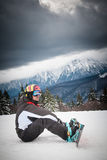 Skier in snowy mountains Stock Photos