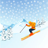 Skier on snowy mountainside Stock Photo