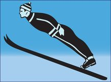SKIER SPORTSMAN ON BLUE BACKGROUND. Color image of a jumping skier in sports clothes and a hat Stock Image