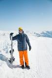 Skier sportsman at winter ski resort panoramic background Royalty Free Stock Photo