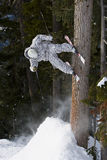 Skier stall on tree. A skier jumps off a snow ramp and stalls on the trunk of a tree Stock Images