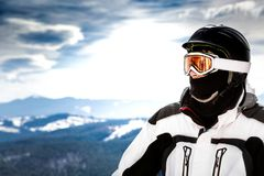 Skier standing on the observation deck with. A view of the Carpathian Mountains royalty free stock photo