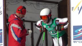 Skier at the start stock video