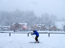 A skier in a strong storm in Bariloche. Argentina stock photography