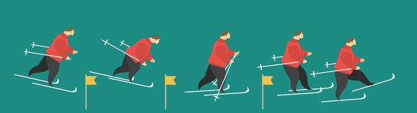 Skier. Stylized characters is a man on skis Royalty Free Stock Photos