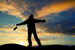 Skier at sunset Royalty Free Stock Images