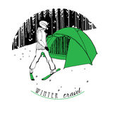 Skier with a tent on snow. Vector illustration of skier with a tent on snow. Background forest.Can used for  Emblem and logo Royalty Free Stock Photo