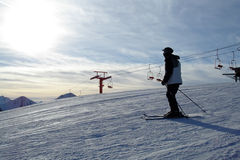 Skier at the Top Stock Photography