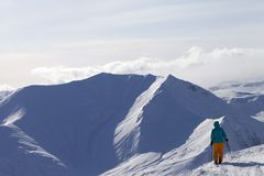 Skier on top of mountain Stock Image