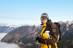 The skier on top of mountain. In Austrian Alps, Bad Hofgastein stock images