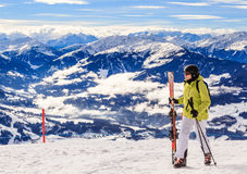 Skier on the top of the mountain Hohe Salve. Ski resort Soll. Skier on the top of the mountain Hohe Salve. Ski resort  Soll, Tyrol, Austria Royalty Free Stock Images