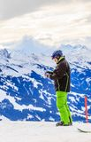 Skier on the top of the mountain Hohe Salve. Ski resort Soll, Tyrol. Skier on the top of the mountain Hohe Salve. Ski resort  Soll, Tyrol, Austria Royalty Free Stock Photography