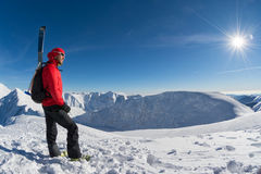 Skier on top of the mountain Stock Photo