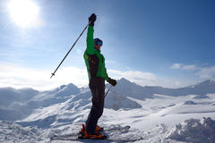 Skier on the top of ski slope Royalty Free Stock Photo