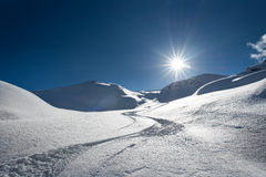 Skier tracks in fresh snow alone Royalty Free Stock Images