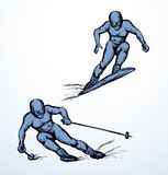 Skier. Vector drawing. Young fast sporty fun healthy male person figure on white ice alp mountain background. Line black ink hand drawn picture sketchy in art Royalty Free Stock Photography