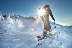 A skier walks in the mountains Stock Image