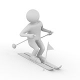 Skier on white background. Isolated 3D Royalty Free Stock Photography
