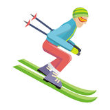 Skier  on White. Person Skiing. Vector Royalty Free Stock Photos
