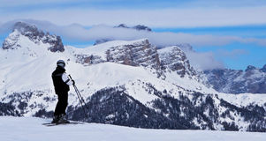 Skier. A winter dolomiti landscape Stock Photo
