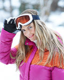 Skier in winter holiday with ski Stock Photography