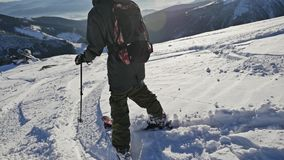 Skier Winter Panorama Sun View Slowmotion. Slowmotion footage of a skier preparing befor riding the mountain stock video