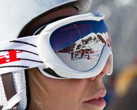 Skier woman with helmet Royalty Free Stock Photography