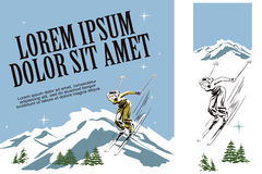 Skier woman. Illustration in retro style of advertising. Illustration in retro style of advertising. Presentation template. Winter fun. Skier woman Royalty Free Stock Image