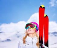 Skier woman portrait Royalty Free Stock Image