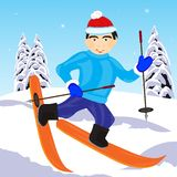 Skier in wood Royalty Free Stock Image