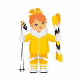 Skier in a yellow suit Royalty Free Stock Photos