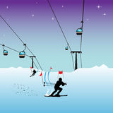 Skiers. Abstract colorful illustration with two skier shapes skiing through red flags and cable cars coming down and going up on special cables Royalty Free Stock Photo