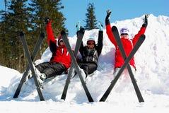 Skiers. Happy skiers resting on ski resort Royalty Free Stock Image