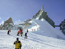 Skiers. At the top of the Vallee Blanche stock photography