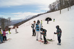 Skiers of all ages. Royalty Free Stock Photography