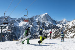 Skiers in the alps Stock Image