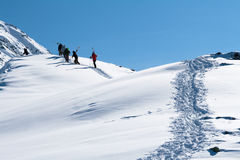 Skiers ascending on a mountain. Group of people pro skiers and snowboarders walks on a mountain stock photos