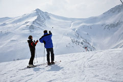 Skiers in the Austrian Alps Stock Photography
