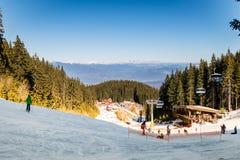 Skiers in Bansko ski resort, Bulgaria Stock Photography