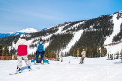 Skiers and boarders on Whistler mountain Stock Photos