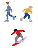 Skiers boys set on white Royalty Free Stock Photos