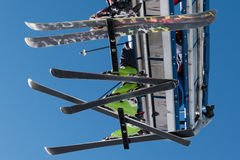 Skiers on chairlift in mountain Stock Photos