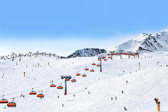 Skiers and chairlifts in Solden, Austria Stock Photos