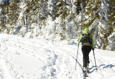 Skiers climbing to the top of the mountain Royalty Free Stock Photography