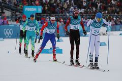 Skiers Compete At Mass Start In The Men`s 15km + 15km Skiathlon At The 2018 Winter Olympic Games Stock Photography