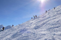 Skiers on Cubere run Stock Images