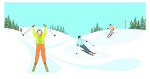 Skiers descend from the mountains. royalty free illustration