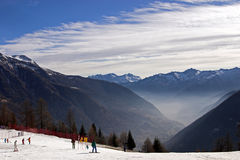Skiers in Dolomite Mountains. Skiers in the Dolomite Mountains, Italy Stock Photos