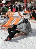 Skiers enjoy lunch outdoors in the sun Stock Images